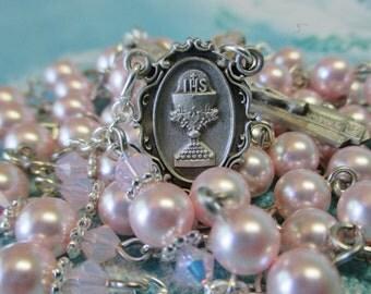 Handmade Catholic Rosary, 6mm Rosaline Swarovski Crystal Pearls, Pewter First Communion Center and Crucifix Set