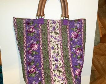 Quilted Purple Flower Tote Bag