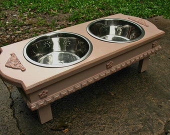 Medium Size Elevated  Dog Bowl Feeder - Dusty Rosewood, 2 Two Quart Stainless Bowls  Cottage Chic Pet Feeder Made to Order