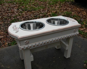 Raised Dog Bowl Feeder, Pet Feeding, Pet Stands, Wooden Feeder, Cottage Chic Antique White 2 One Quart Bowls Made to Order