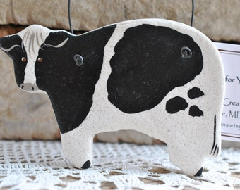 Black Spotted Cow Ornament Kitchen Decor Salt Dough