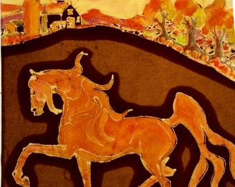 "Horse  -   ""Red Horse Prances at Sunset""    -  horse art -  original batik painting"