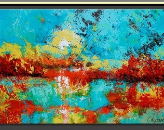 Abstract  Impressionist ORIGINAL Painting  by Claire McElveen  Landscape ART Southern Abstract Landscape Marsh Wetlands