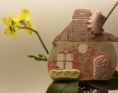 Handmade Pottery hanging birdhouse tile - pottery hanging fairy house decoration - one of a kind fairy house - hobbit house wall hanging