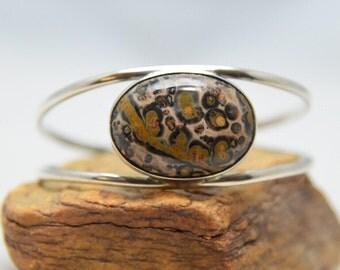 Ocean Jasper Vintage Sterling Silver Cuff Bracelet