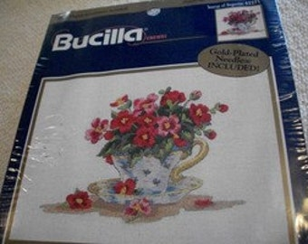 Teacup of Begonias Crewel Embroidery Kit: Comes with Fabric, Floss, Needle & Dir