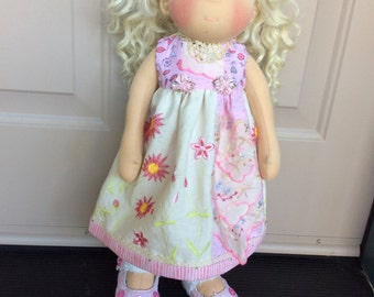 """18"""" doll clothes shabby chic, vintage hanky, ARTSY,  3 pc, fits American Girl, Waldorf"""
