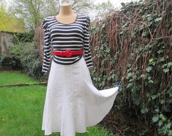 Linen Skirt Vintage / White / with Viscose / Size EUR40 / UK12