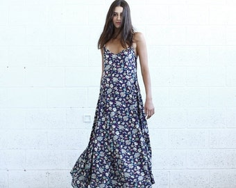 Valentines day Flare Maxi dress, Floral Blue.