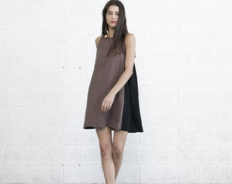 Valentines day SALE --40% OFF-- Colour Block Sundress - Brown Black.