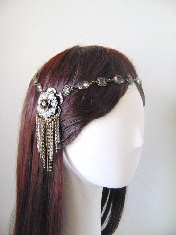 Bohemian Headband, Boho Hairpiece, Bohemian Hairpiece, Boho Bride, Art Deco, Rhinestone Hairpiece, Flapper, Bohemain Hairchain FLOWER CHILD