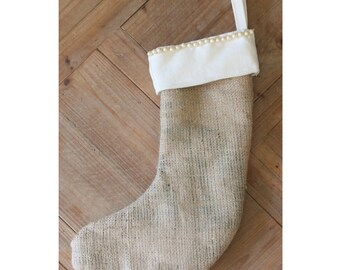 Handmade Christmas Stocking Burlap Hessian Pearl Beads