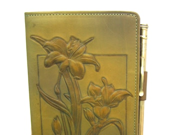 Art Nouveau Notebook. Hand Tooled Leather. Billfold. Ingersoll Rolled Gold Mechanical Pencil. Orig Box, Notepads. 1920s Vintage Advertising