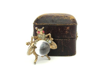 Insect Brooch. Crown Trifari Jelly Belly Fly. Lucite, Rhinestone & Sterling Silver Gold Gilt. Vintage 1940s Alfred Philippe Jewelry.