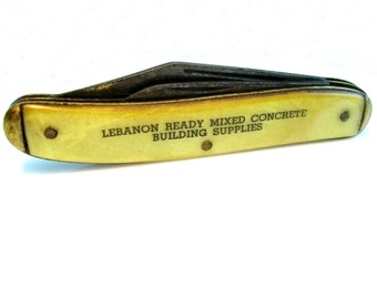 Pocket Knife. Pearlized Celluloid Handle. Advertising. Lebanon PA Concrete Building Supplies. Colonial USA. Vintage 1940s Collectible.