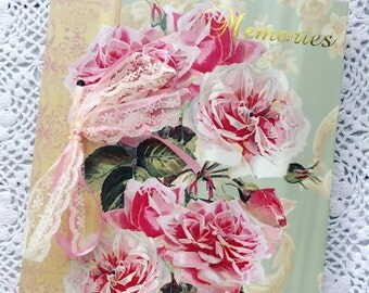 Roses Wedding Album, Shabby Chic Album, Cottage Chic Photo Album, Memories Photo Album, Garden Theme Album, Vintage Roses Album