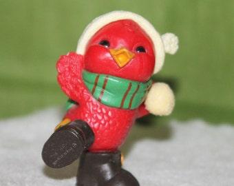 Vintage Hallmark Christmas Merry Miniature Dancing Red Bird 1981