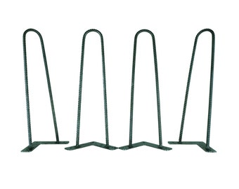 "Rebar Hairpin Legs, Multiple Sizes, Set of Four 3/8"" Solid Steel, Steel Leg, Industrial Leg, Mid Century Modern, Pin Leg, Metal Bench Leg"