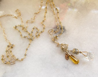 Vintage Jewelry Lariat with Labradorite and Vintage Crystals