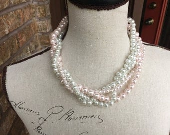 discounted 10 dollars and free earrings Pink and white strand pearl necklace -bridesmaid jewelry-wedding jewelry