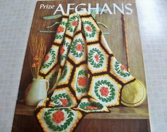 1967 Prize Afghans Knitting Crochet Instructions Many Projects Daisy-Shell-Multi Color-Puff Stitch-Square-Cameo-Granny-Raised Petal-Chevron-