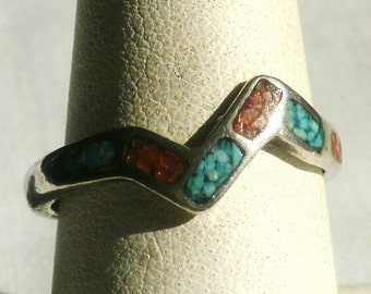 Sterling Silver Turquoise And Coral Ring-Size 8