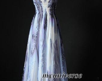 Blue Maxi Dress Chiffon Dress Women Dress Plus Size Floral Abstract Print