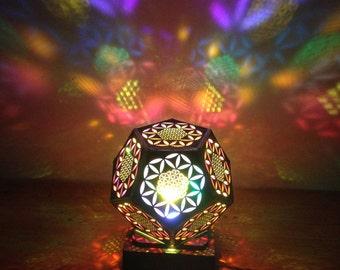 Flower of Life Pentagon Wooden Lamp