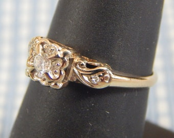 Lovely Turn-of -the-Century 14k Two-Tone Diamond Engagement Ring