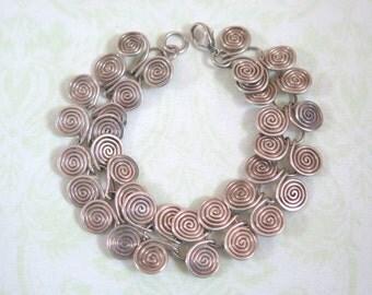SALE: Curly, Sterling SIlver Tribal Design Bracelet.
