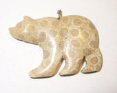 Fossil Coral Bear Pendant