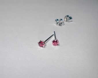 Pinkish Red round sapphire tiny stud earrings