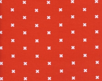 XOXO in Clementine, Cotton+Steel Basics, Rashida Coleman Hale, RJR Fabrics, 100% Cotton Fabric, 5001-013