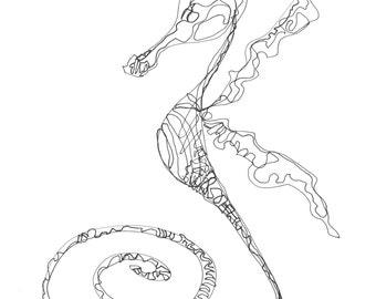 Black and White Sea Horse-Original Drawing-sea life-coastal-pen and ink-fish art-art fish-beach house-modern-sea dragon-sea life-condo-fish