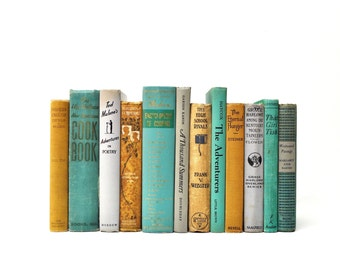 Vintage Book Collection in Mint Green, Grey and Tan