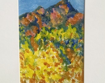 Small mountain painting, Small abstract landscape oil painting