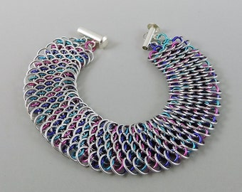 Micro Dragonscale Chainmaille Bracelet, Teal, Purple, Pink & Silver Color Dragonscale Bracelet, Chainmail Bracelet, Chain Mail Jewelry