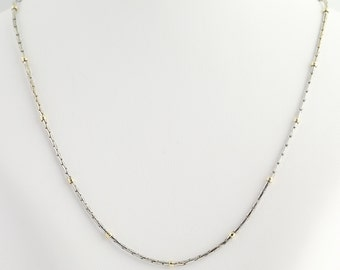 """Modified Box Chain Necklace 18 1/4"""" - 14k White & Yellow Gold Lobster Claw Clasp L8106"""