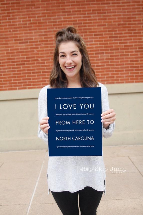 Dorm Decor, Art Print, North Carolina State Wall Hanging, Graduation Gift Idea, Housewarming, I Love You From Here To NORTH CAROLINA