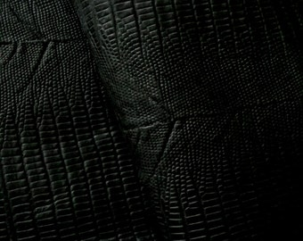 Snake Print(14''x36'')Genuine leather.Sheep Leather/ Leather Piece / Black .
