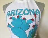 Recycled T Shirt Halter Crop Top Arizona Cactus Tee Southwestern Boho Hippie Gypsy Backless Festival Bohemian White Green Cacti Tank