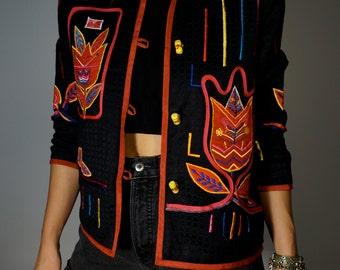 Vintage Jacket S M Black Red Embroidered Tulip Flowers Ethnic Folk Boho Hippie Gypsy Club Kid Grunge 90s Bohemian Hipster Mod Festival Coat