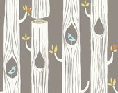 Tree Stripes Shroom Birch Organic Cotton Fabric  / Fabric By the Yard or Half Yard / Woodland Fabric / Forest Fabric / Nature Fabric