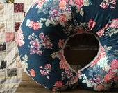 Floral Nursing Pillow Cover w Ivory Rosette Minky / Floral Nursing Pillow, Nursing Pillow Cover Girl, Floral Nursery Decor / Ready to Ship