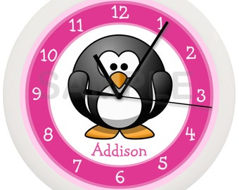 Personalized Pink Penguin Nursery Wall Clock 10 Inch