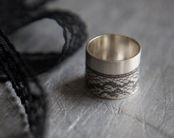Eco Friendly Silver Statement Ring - Black Lace Wide Silver Ring - Unique Black Ring made from 100% Recycled Silver