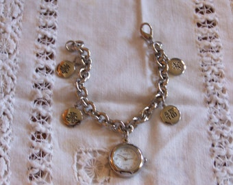 Vintage GRUEN Charm Chain Bracelet Watch with Chinese Writing on Good Luck Charms