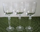 3 Vintage Fostoria Crystal Glass Claret Wine Goblets Holly Clear Pattern Stem # 6030 Cut # 815 Circa 1960's