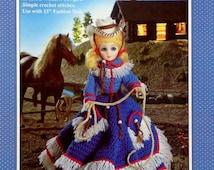 "20%OFF Fibre Fiber Craft WESTERN COWGIRL 15"" Fashion Doll - Crochet Doll Dress Clothes Clothing Pattern"
