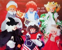 """20%OFF American School Of Needlework 13"""" DOLL-A-Month Volume Two July- December - Crochet Doll Clothes Clothing Patterns"""